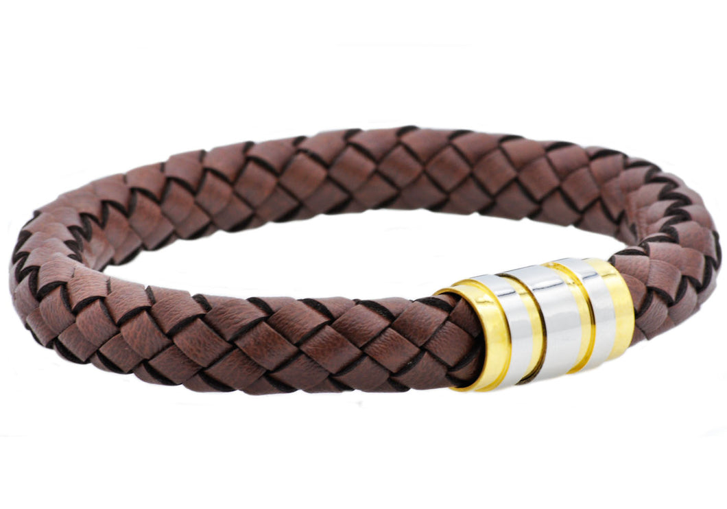 Mens Brown Leather Gold Plated Stainless Steel Bracelet - Blackjack Jewelry