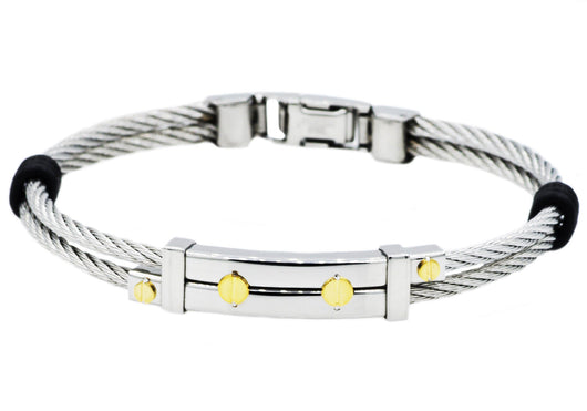 Mens Stainless Steel Wire Bangle With Gold Screws