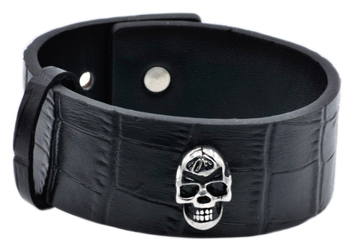 Mens Stainless Steel And Leather Skull Bracelet - Blackjack Jewelry