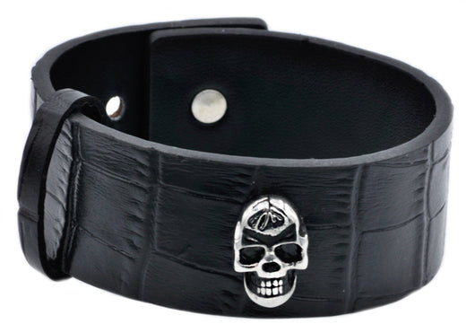 Mens Stainless Steel And Leather Skull Bracelet