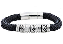 Load image into Gallery viewer, Mens Black Leather Stainless Steel Bracelet - Blackjack Jewelry