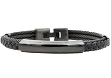 Load image into Gallery viewer, Mens Black Leather And Black Stainless Steel Wire Bangle - Blackjack Jewelry