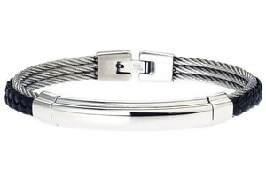 Mens Black Leather Stainless Steel Wire Bangle - Blackjack Jewelry