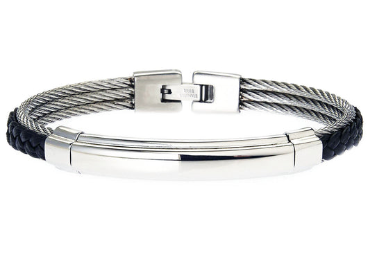 Mens Black Leather Stainless Steel Wire Bangle
