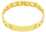 Mens Gold Plated Stainless Steel ID Engrave-able Bracelet
