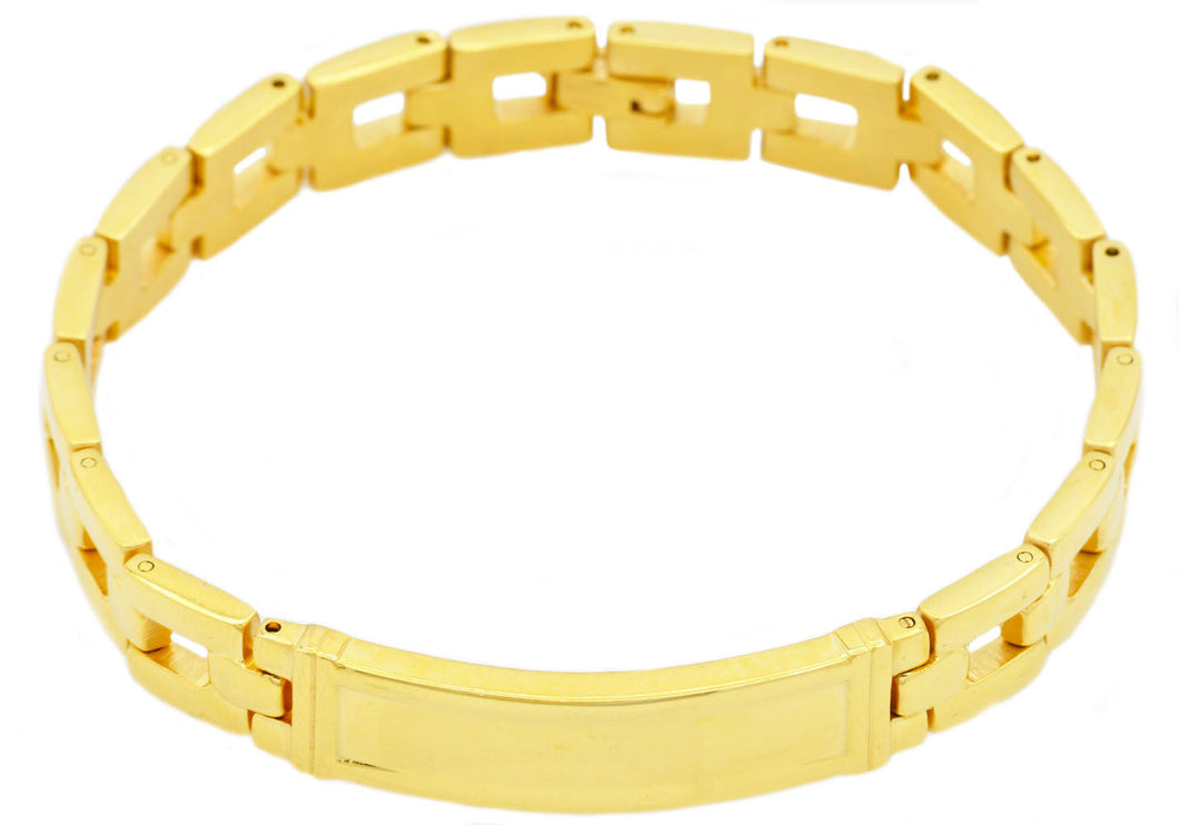 Mens Gold Stainless Steel ID Engrave-able Bracelet - Blackjack Jewelry