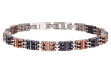 Load image into Gallery viewer, Mens Chocolate And Black Plated Stainless Steel Bracelet - Blackjack Jewelry