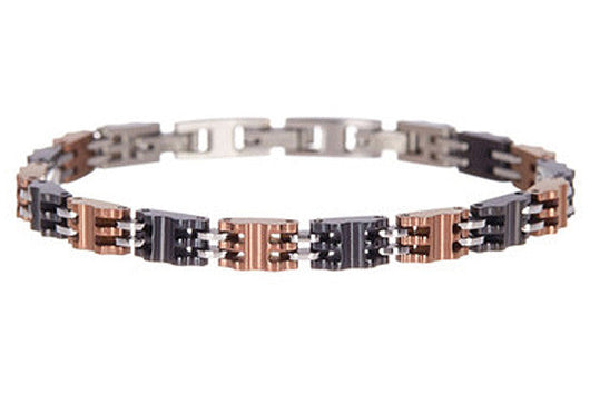 Mens Chocolate And Black Plated Stainless Steel Bracelet - Blackjack Jewelry