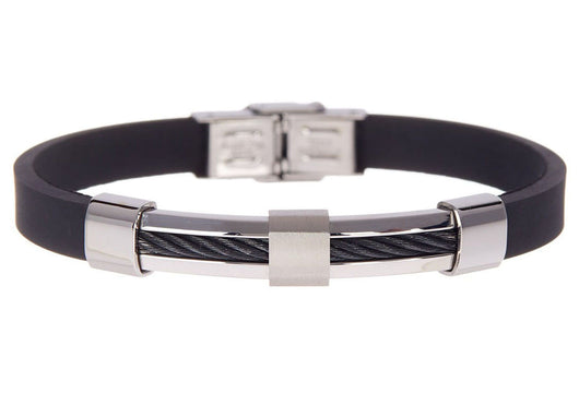 Mens Black Rubber And Stainless Steel Wire Bracelet