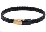 Mens Black Leather And Rose And Black Plated Stainless Steel Bracelet - Blackjack Jewelry