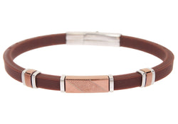 Mens Brown Rubber Chocoloate Plated Stainless Steel Bracelet