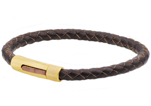 Mens Brown Leather And Gold Plated Stain Stainless Bracelet