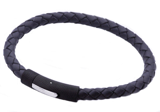Mens Black Plated Stainless Steel Black Leather Bracelet