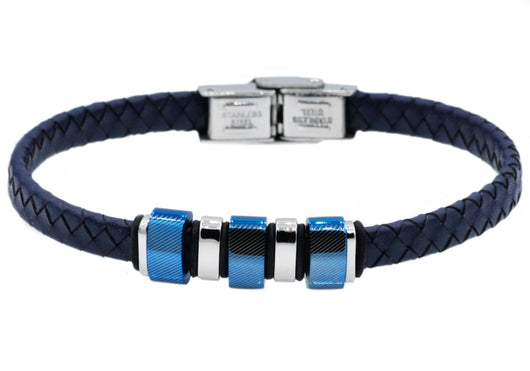 Mens Blue Leather And Stainless Steel Bracelet - Blackjack Jewelry