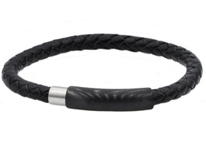 Mens Black Leather And Black Stainless Steel Bracelet - Blackjack Jewelry