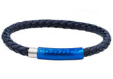 Mens Blue Leather And Blue Plated Stainless Steel Bracelet