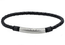 Load image into Gallery viewer, Mens Black Leather And Stainless Steel Bracelet - Blackjack Jewelry