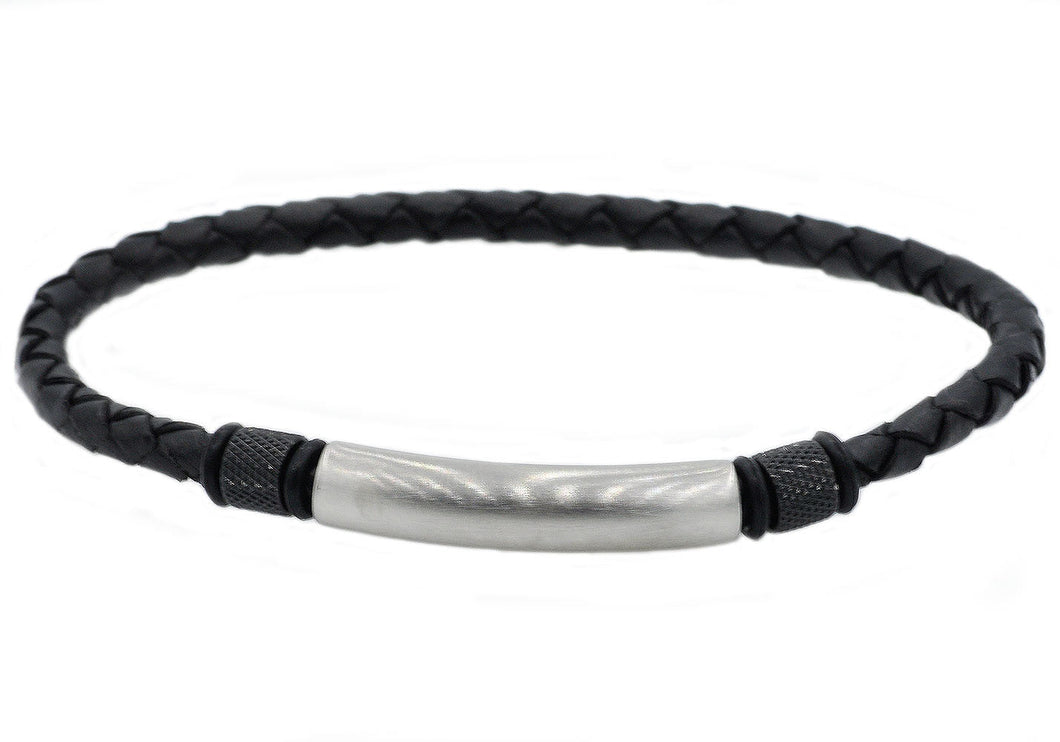 Mens Black Leather And Stainless Steel Bracelet - Blackjack Jewelry