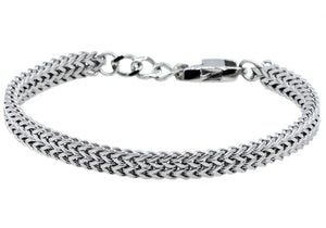Mens Double Franco Polished Stainless Steel Adjustable Thin Bracelet - Blackjack Jewelry