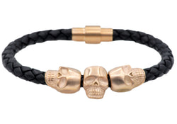 Mens Black Leather And Rose Plated Stainless Steel Skull Bracelet