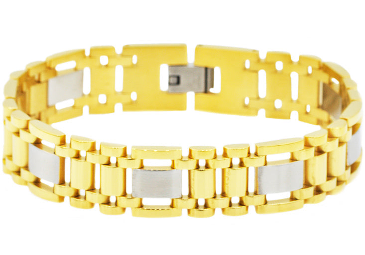 Mens Gold Stainless Steel Bracelet - Blackjack Jewelry