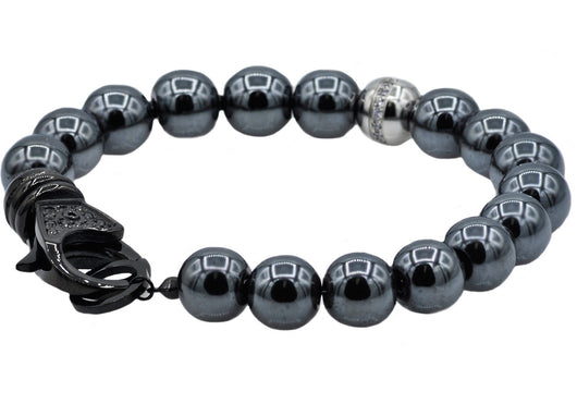 Mens Stainless Steel And Hematite Bead Bracelet With Cubic Zirconia - Blackjack Jewelry
