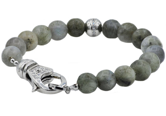 Mens Stainless Steel And Labradorite Bead Bracelet With Cubic Zirconia
