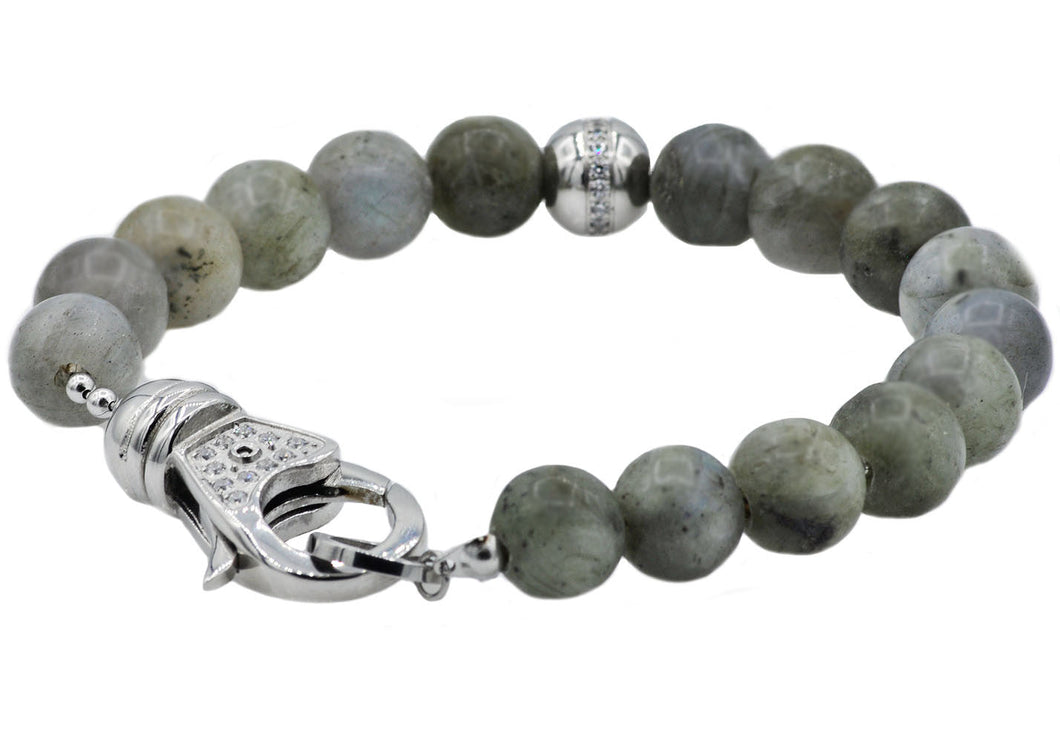 Mens Stainless Steel And Labradorite Bead Bracelet With Cubic Zirconia - Blackjack Jewelry