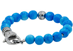 Mens Stainless Steel And Larimar Bead Bracelet With Cubic Zirconia - Blackjack Jewelry