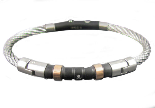 Mens Black Plated Stainless Steel Wire Bangle - Blackjack Jewelry