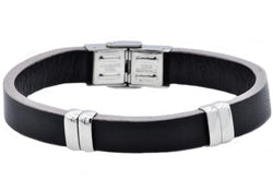Mens Black And Gray Leather Stainless Steel Bracelet