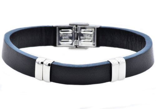 Mens Black And Blue Leather Stainless Steel Bracelet - Blackjack Jewelry
