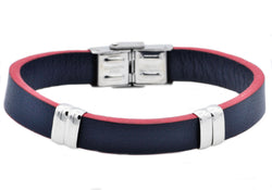 Mens Blue And Red Leather Stainless Steel Bracelet