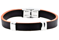 Mens Brown And Orange Leather Stainless Steel Bracelet