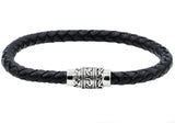 Mens Black Leather And Stainless Steel Bracelet