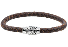 Load image into Gallery viewer, Mens Brown Leather And Stainless Steel Bracelet - Blackjack Jewelry