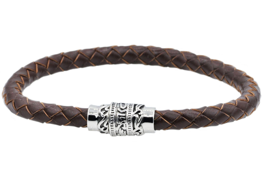 Mens Brown Leather And Stainless Steel Bracelet - Blackjack Jewelry