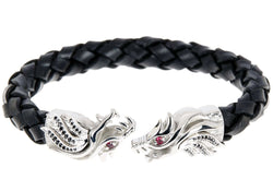 Mens Black Leather Stainless Steel Dragon Bracelet With Red And Black Cubic Zirconia