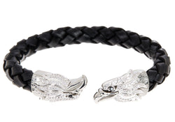Mens Black Leather Stainless Steel Eagle Bracelet With Cubic Zirconia