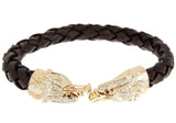 Mens Brown Leather Gold Plated Stainless Steel Eagle Bracelet With Cubic Zirconia