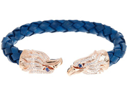 Mens Blue Leather Rose Plated Stainless Steel Eagle Bracelet With Blue And White Cubic Zirconia