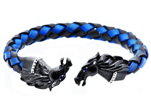 Mens Black And Blue Leather Black Plated Stainless Steel Horse Bracelet With Blue Cubic Zirconia - Blackjack Jewelry