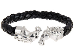 Mens Black Leather Stainless Steel Horse Bracelet With Black Cubic Zirconia