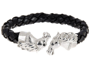 Mens Black Leather Stainless Steel Horse Bracelet With Black Cubic Zirconia - Blackjack Jewelry