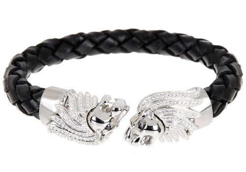 Mens Black Leather Stainless Steel Lion Bracelet With Cubic Zirconia - Blackjack Jewelry