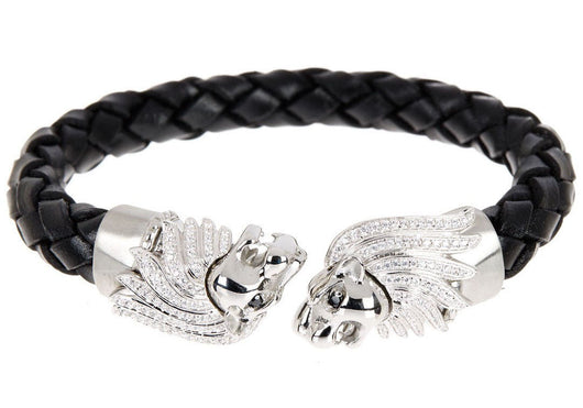 Mens Black Leather Stainless Steel Lion Bracelet With Cubic Zirconia