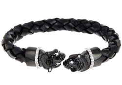 Mens Black Leather Stainless Steel Panther Bracelet With Cubic Zirconia