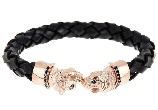 Mens Black Leather Rose Plated Stainless Steel Panther Bracelet With Black Cubic Zirconia
