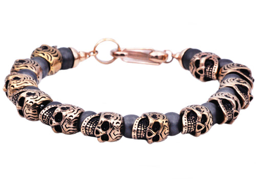 Mens Genuine Hematite Rose Gold Plated Stainless Steel Skull Beaded Bracelet - Blackjack Jewelry