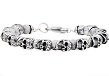 Load image into Gallery viewer, Mens Genuine Gray Caso Jasper Stainless Steel Skull Beaded Bracelet - Blackjack Jewelry